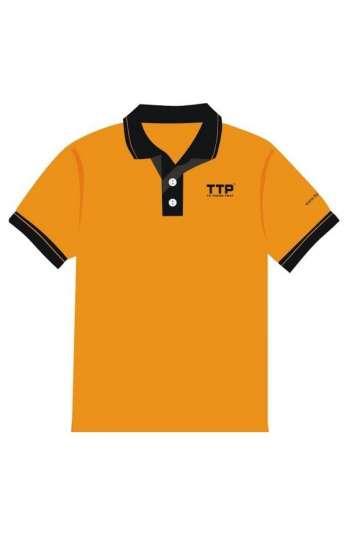 Áo thun đồng phục vải cá sấu màu cam cổ và tay phối đen trắng