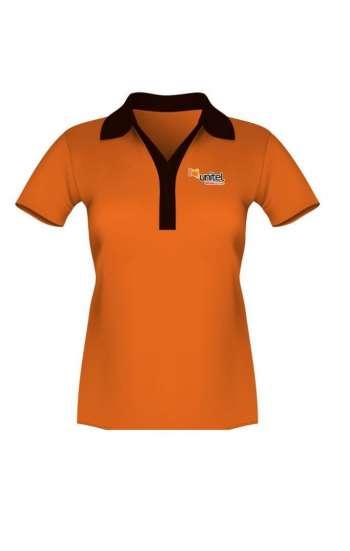 Áo thun đồng phục vải cá sấu màu cam cổ viền đen form nữ đẹp