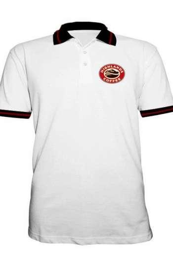 Áo thun đồng phục cổ trụ màu trắng phối đen