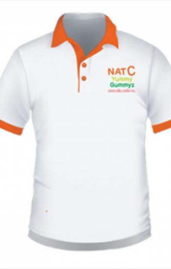 Áo thun đồng phục cổ trụ vải cá sấu màu trắng cổ và tay viền cam