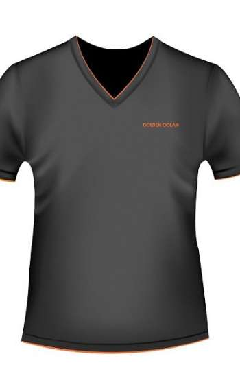 Áo thun đồng phục cổ tim màu xám đen viền cam