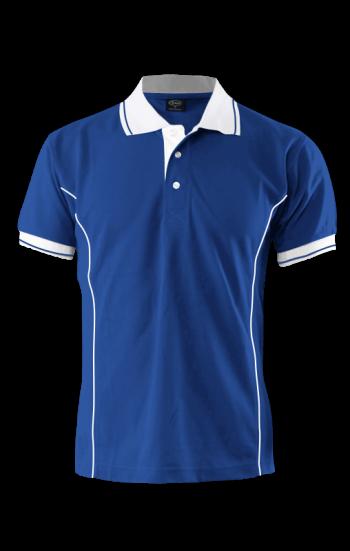 Áo thun đồng phục polo màu xanh dương phối tay và cổ màu trắng