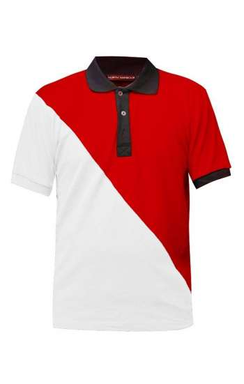 Áo thun polo trắng phối đỏ đen phá cách