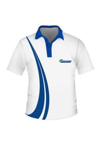Áo thun polo phối màu trắng xanh dương in thêu logo theo yêu cầu