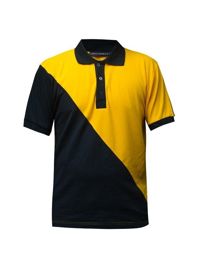 Áo thun polo phối màu vàng đen