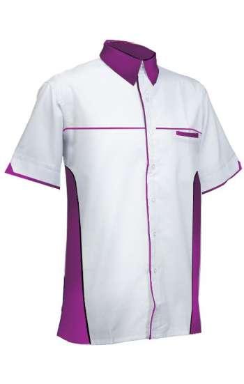 Mẫu đồng phục sơ mi tay ngắn màu trắng phối tím
