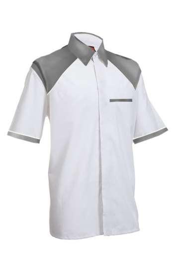 Mẫu đồng phục sơ mi tay ngắn màu trắng phối xám