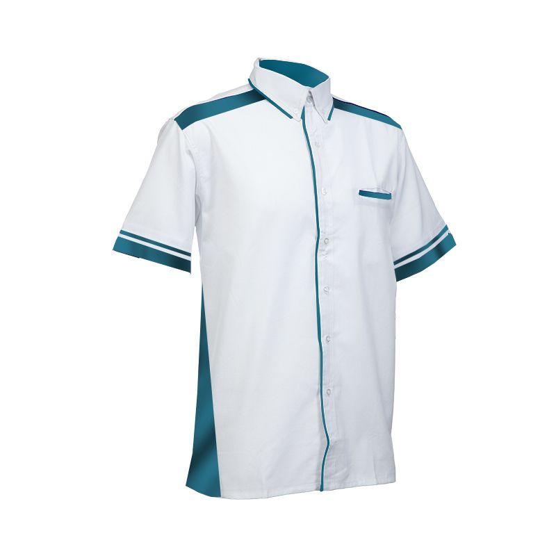 Mẫu đồng phục sơ mi tay ngắn màu trắng phối xanh dương