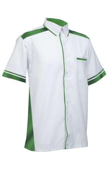 Mẫu đồng phục sơ mi tay ngắn màu trắng phối xanh lá