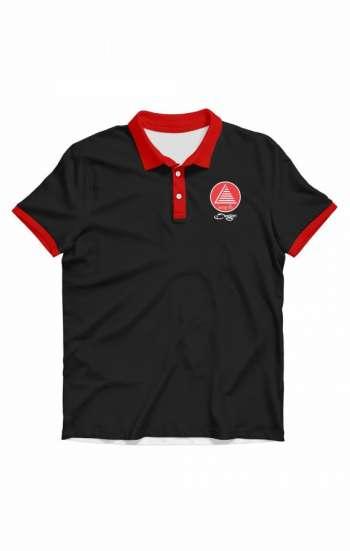 Áo thun đồng phục polo đen phối đỏ ở tay và cổ áo