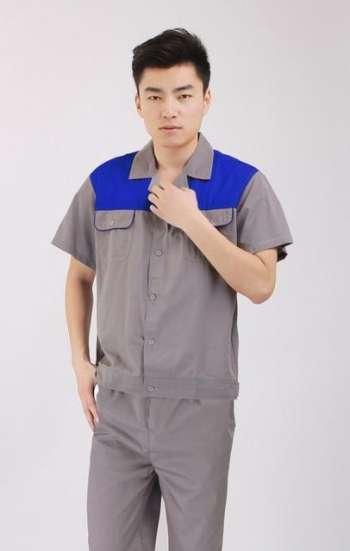 Đồng phục bảo hộ cao cấp tay ngắn phối màu xám xanh dương