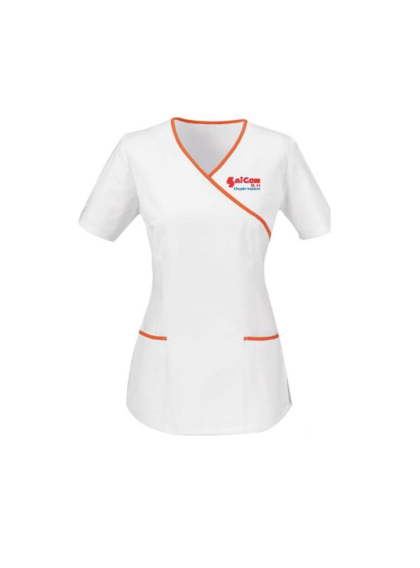 Mẫu áo blouse màu trắng tay ngắn viền cam