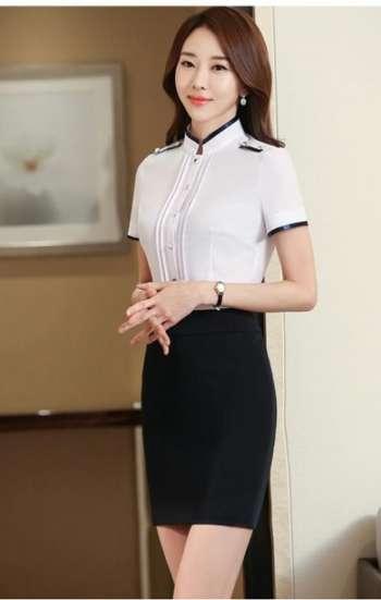 Đồng phục cao cấp sơ mi trắng tay ngắn viền xanh