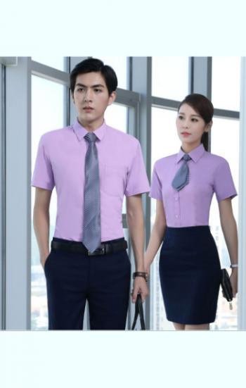 Đồng phục công sở áo sơ mi tím tay ngắn phối hợp cà vạt