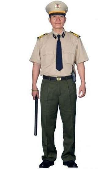 Đồng phục bảo hộ sơ mi nâu tay ngắn phối với cà vạt