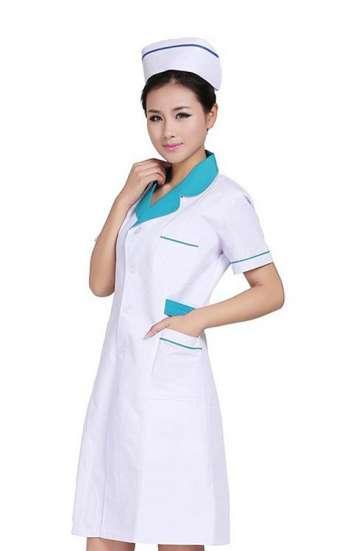 Mẫu áo blouse màu trắng tay ngắn viền xanh