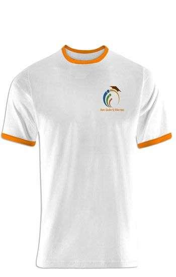 Áo thun đồng phục cổ tròn màu trắng, cổ và tay viền cam