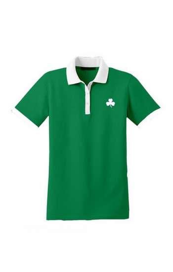Áo thun đồng phục polo màu xanh lá phối tay và cổ màu trắng