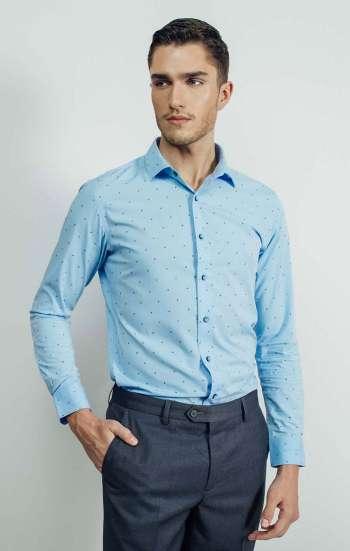 Đồng phục công sở áo sơ mi màu xanh biển tay dài