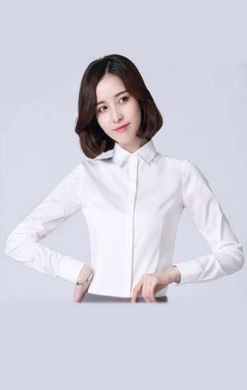 Đồng phục công sở áo sơ mi trắng tay dài thanh lịch