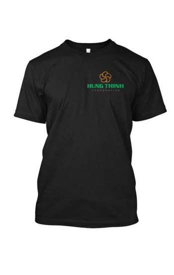 Áo thun đồng phục cổ tròn màu đen thêu chữ & logo