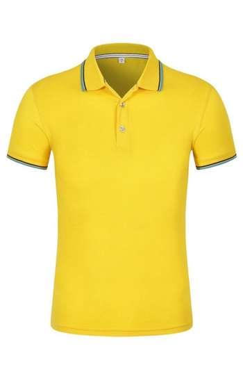 Áo thun đồng phục polo màu vàng viền tay và cổ màu xanh & đen