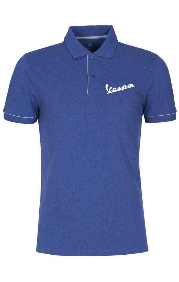Áo thun đồng phục polo màu xanh biển viền trắng thêu logo
