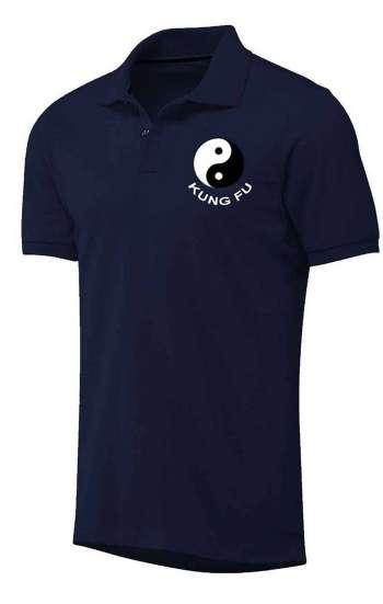 Áo thun đồng phục polo màu xanh đen thêu logo