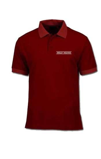 Áo thun đồng phục polo màu đỏ đô viền đỏ tươi in chữ, logo