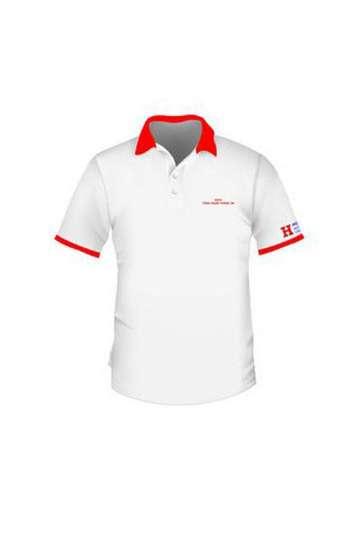 Áo thun đồng phục polo màu trắng viền đỏ thêu chữ