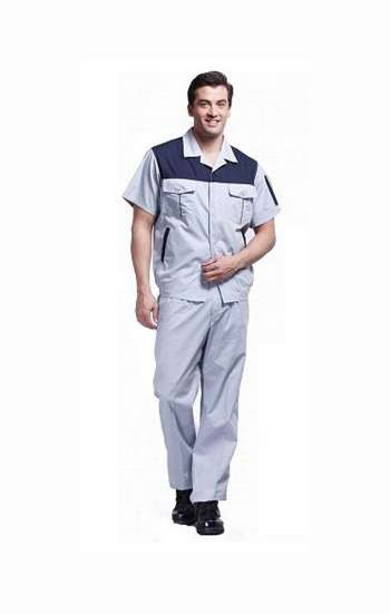 Đồng phục bảo hộ cao cấp tay ngắn phối màu xám, xanh đen