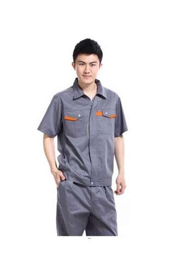 Đồng phục bảo hộ cao cấp tay ngắn phối màu xám, cam