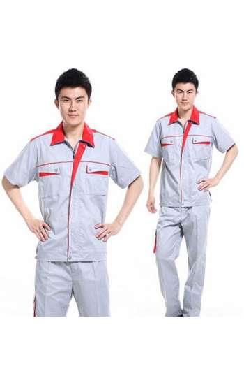 Đồng phục bảo hộ cao cấp tay ngắn phối màu xám, đỏ
