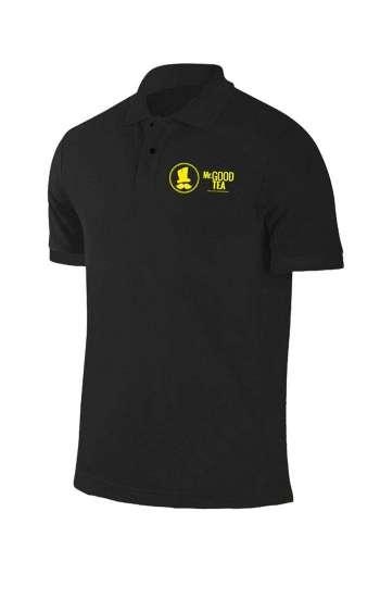 Áo thun đồng phục cổ trụ màu đen thêu logo trước ngực