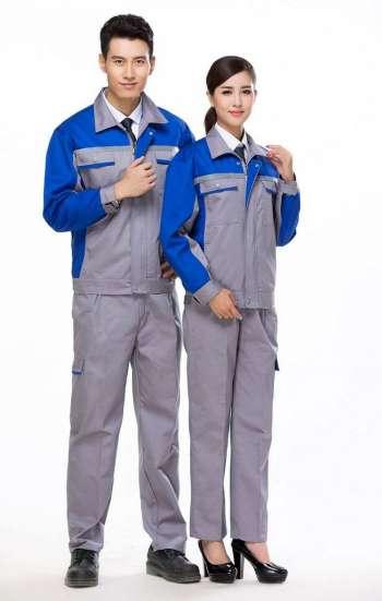 Đồng phục bảo hộ cao cấp tay dài phối màu xám, xanh dương