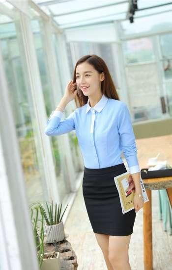Đồng phục công sở áo sơ mi nữ tay dài màu xanh viền trắng