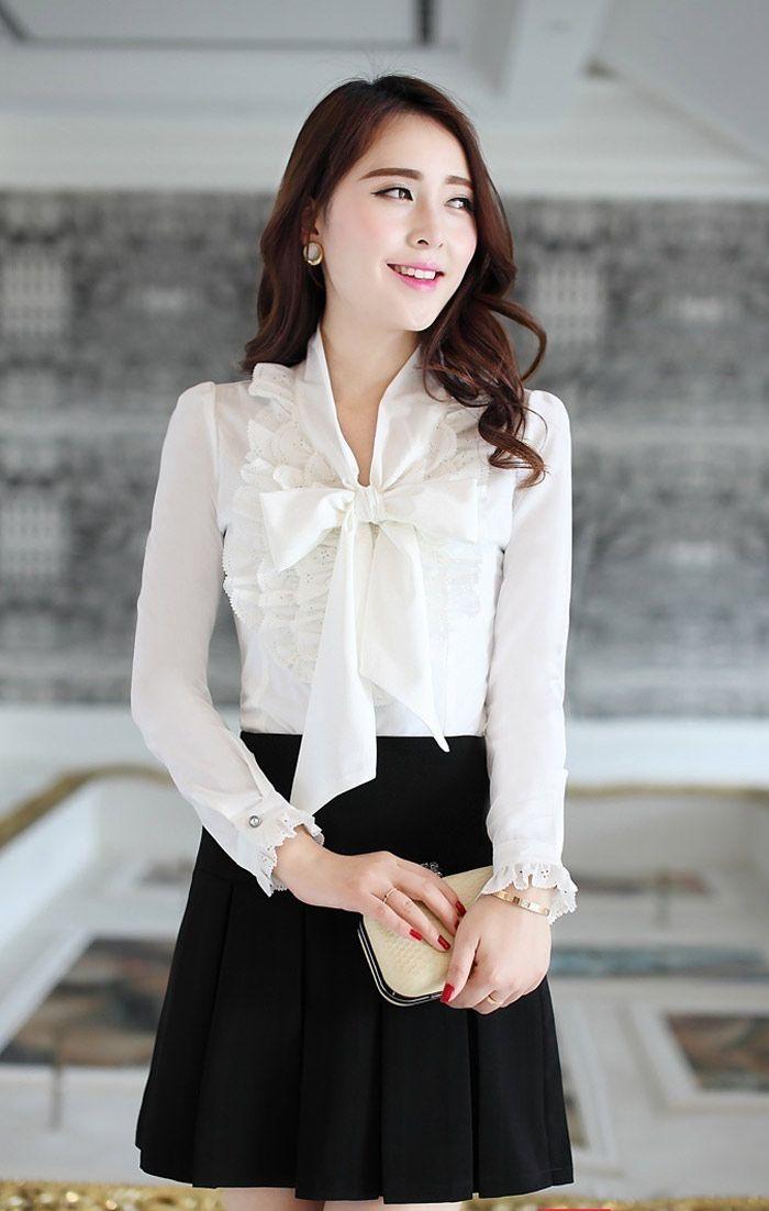 Đồng phục công sở áo sơ mi nữ tay dài thắt nơ
