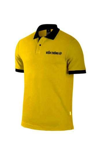 Áo thun đồng phục cổ trụ màu vàng viền đen logo thêu