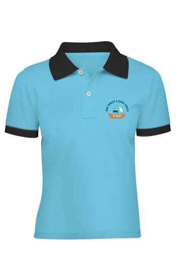 Áo thun đồng phục cổ trụ màu xanh biển viền đen logo in