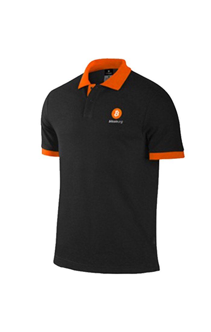 Áo thun đồng phục cổ trụ màu cam viền đen logo thêu