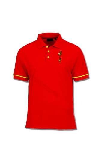 Áo thun đồng phục cổ trụ màu đỏ viền vàng logo thêu