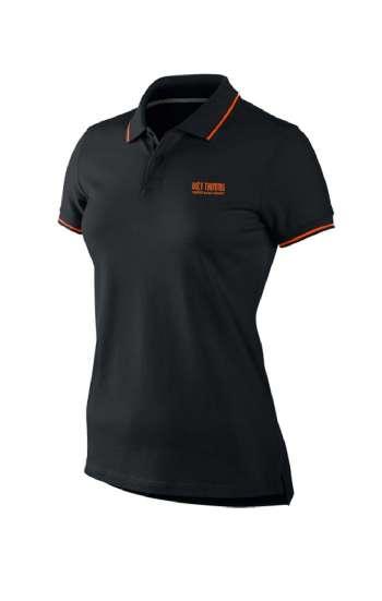Áo thun đồng phục cổ trụ màu đen viền cam logo thêu
