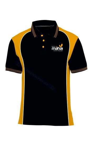 Áo thun đồng phục cổ trụ màu đen phối vàng logo thêu