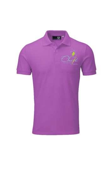 Áo thun đồng phục cổ trụ màu tím logo in