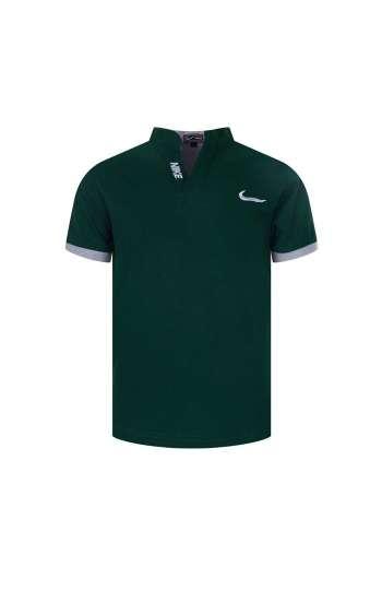 Áo thun đồng phục cổ đứng Nike màu xanh rêu viền trắng logo thêu