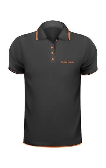 Áo thun đồng phục cổ trụ màu đen viền cam logo in