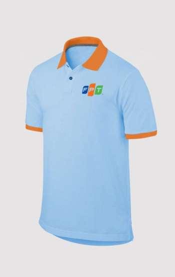 Áo thun đồng phục cổ trụ màu xanh biển viền cam logo in