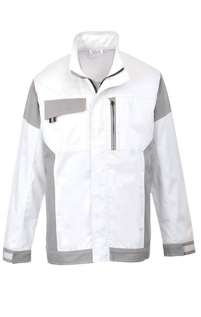 Đồng phục bảo hộ áo khoác cao cấp tay dài màu trắng phối xám