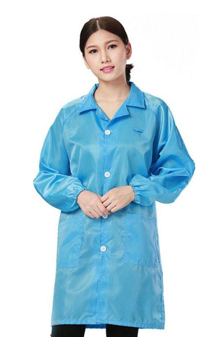 Đồng phục bảo hộ áo khoác nữ cao cấp tay dài màu xanh dương