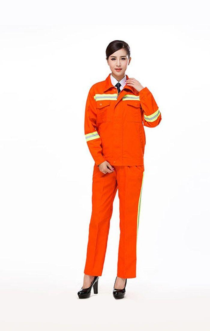 Đồng phục bảo hộ nữ cao cấp tay dài màu cam